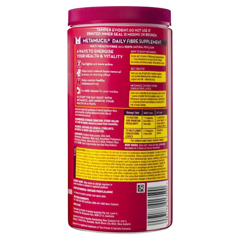 【Ready Stock】METAMUCIL - Smooth Fibre Powder 吸油纤维素膳食纤维颗粒 (无糖零脂肪 排毒) (673g) 114 Doses