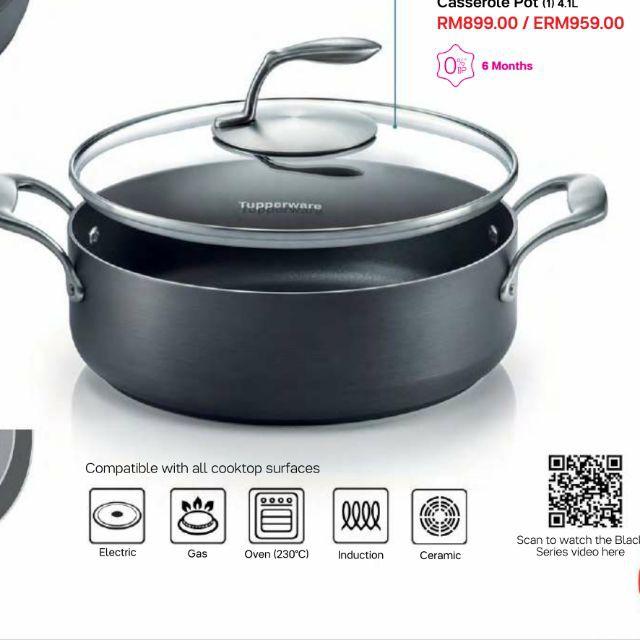 Tupperware Black Series Cookware Casserole Pot 4.1L