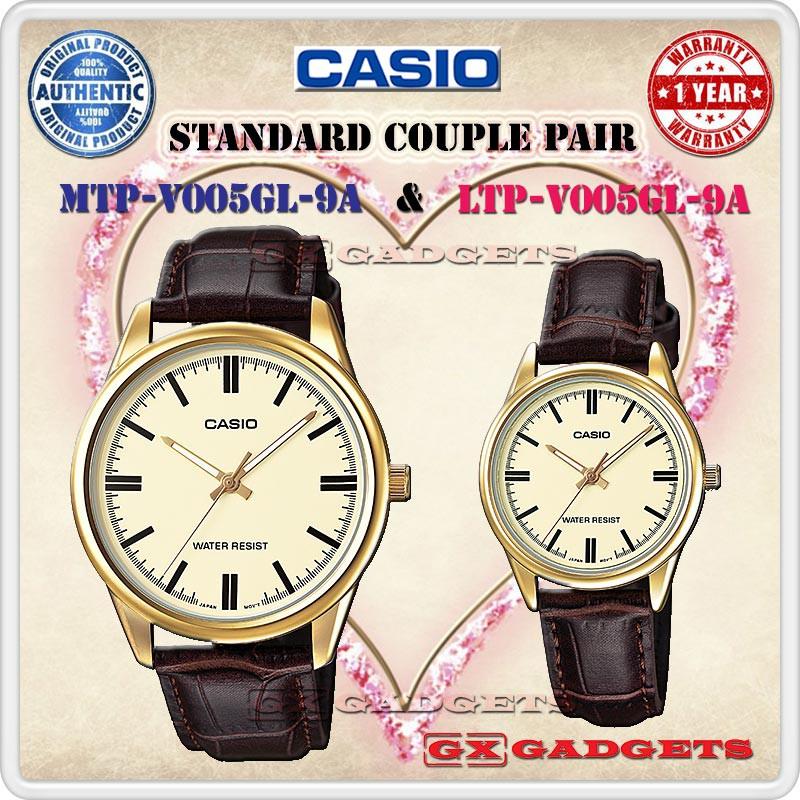 CASIO MTP-V004GL-7A + LTP-V004GL-7A STANDARD COUPLE PAIR WATCH DATE LEATHER  V004  1d14e19dfb