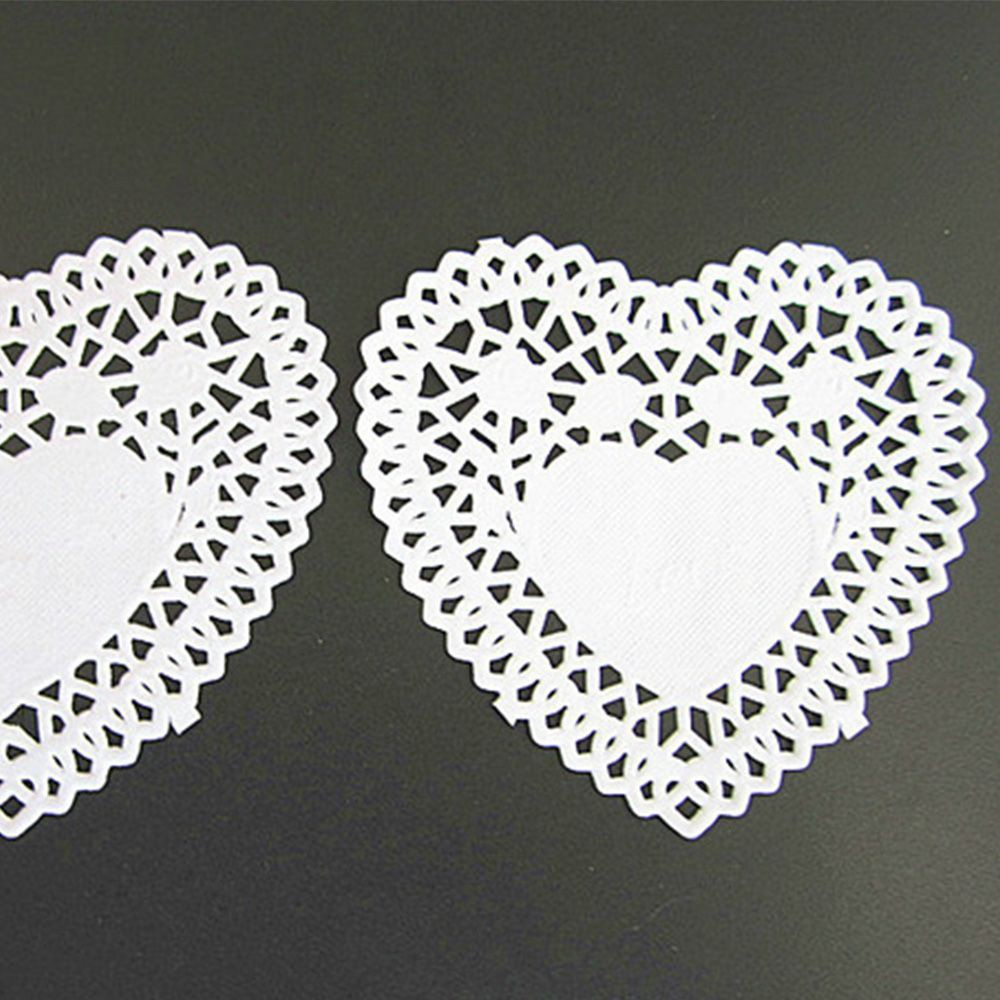 250pcs//set Coasters Paper Crafts White Heart Shaped 4inch Lace Paper Doilies