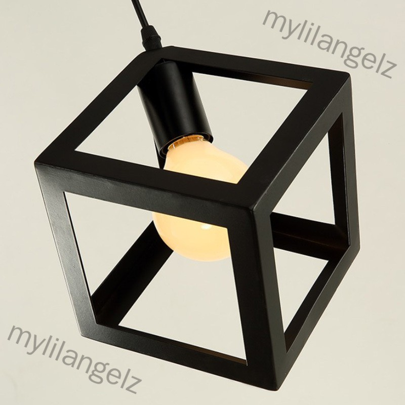 Mylilangelz Industrial Cube Metal Pendant Light Accessory, Loft Ceiling Lamp for Home, Bar, Cafe