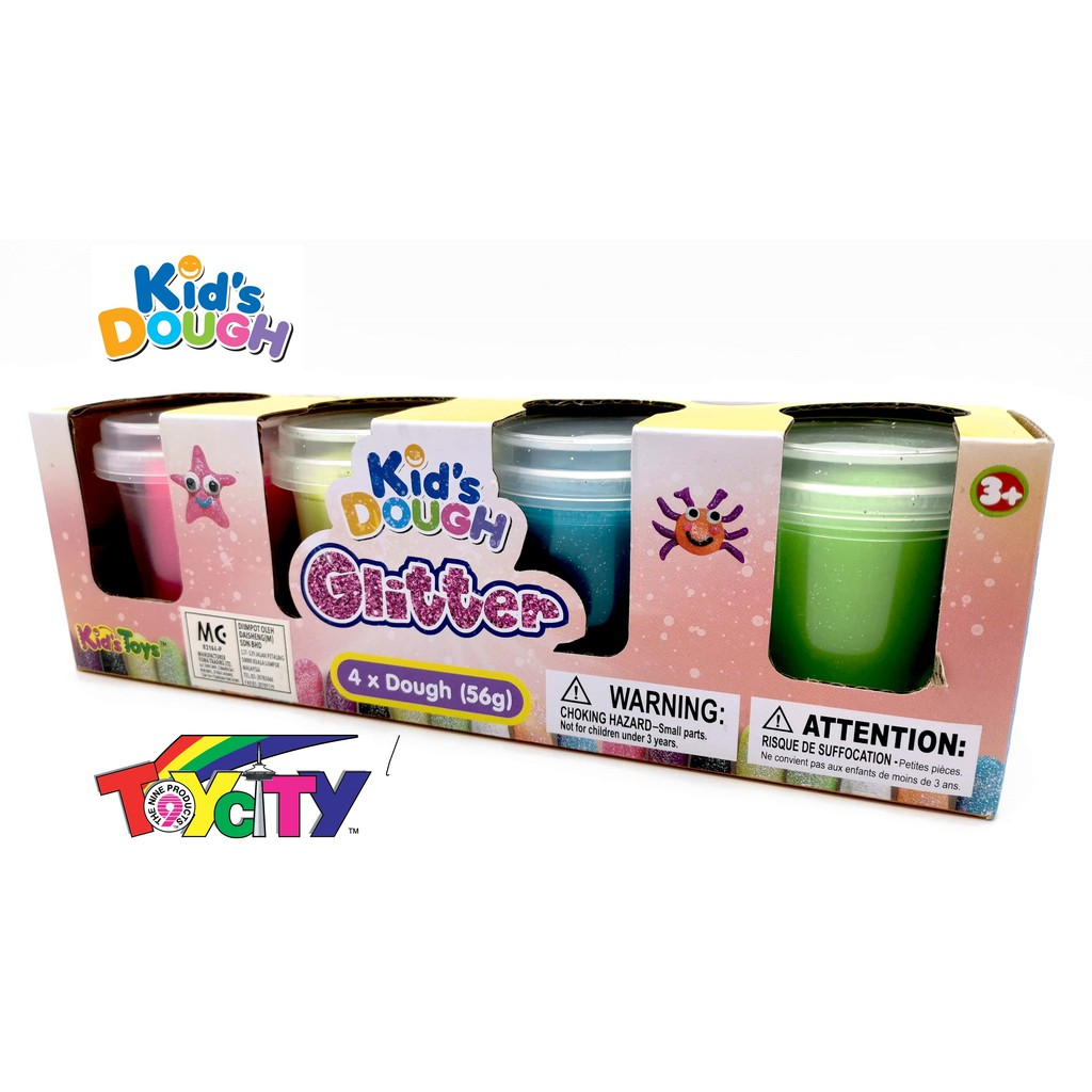 KID'S TOYS FUN PLAY KIDS DOUGH FOR KIDS 4 x 56 GRAM GLITTER COLOR DOUGH PLAY SET
