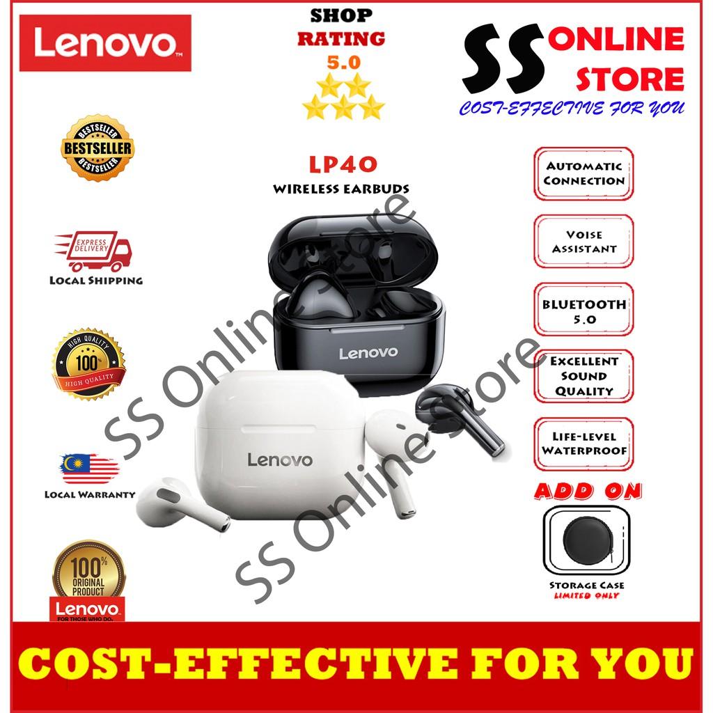 Lenovo LP40 TWS Wireless Earphone Bluetooth wireless 5.0 Dual Stereo Bass Touch Control IP54 life waterproof