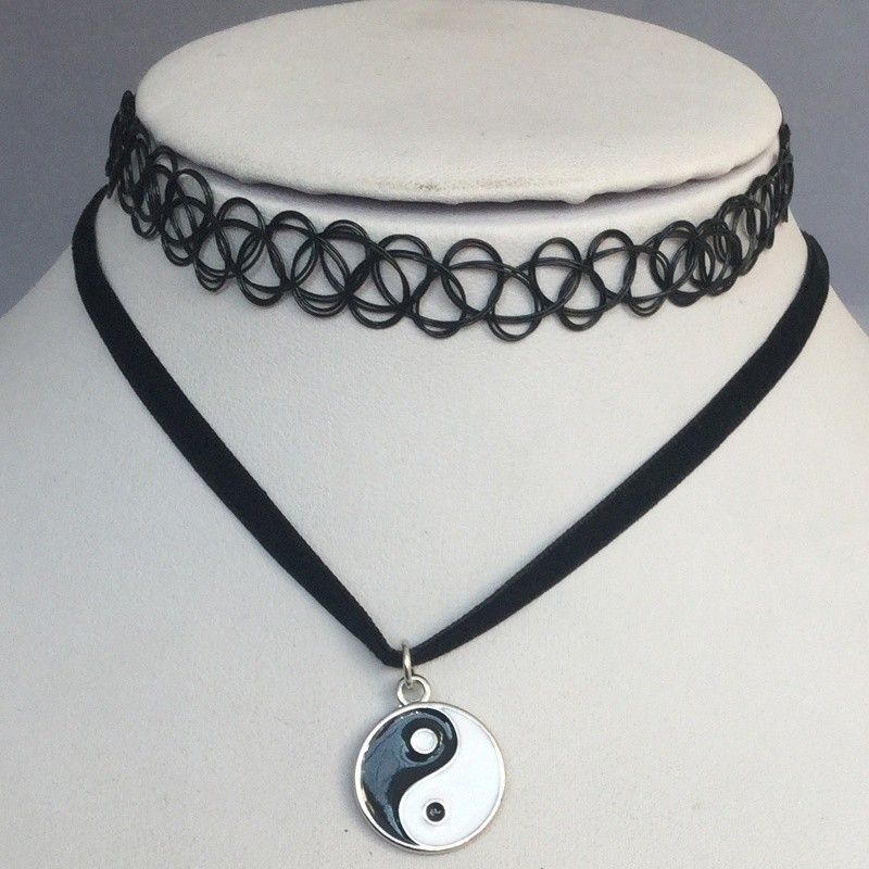 13484f6613ed4 black tattoo Choker yin yang double clavicle velvet necklace short chain