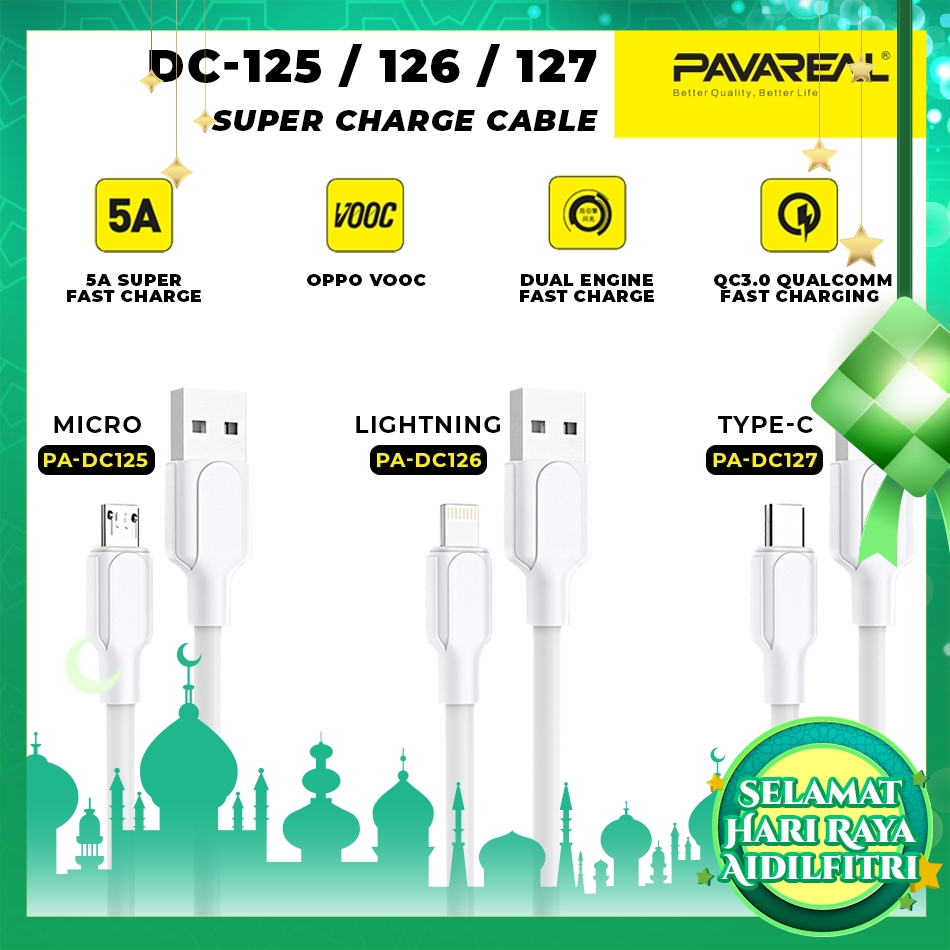 PAVAREAL PA-DC125/DC126/DC127 1M 5A Super Fast Charging Cable Nylon Braided Data Cable for iOS / Type C / Micro USB