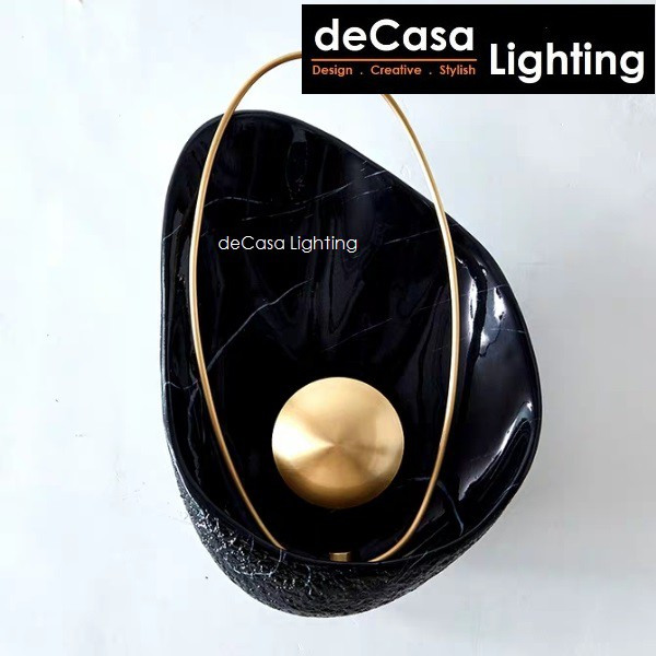 Modern Decorative 5w LED Pearl In Oyster Marble Wall Lamp Indoor Designer Lighting in Black / White (B2010)