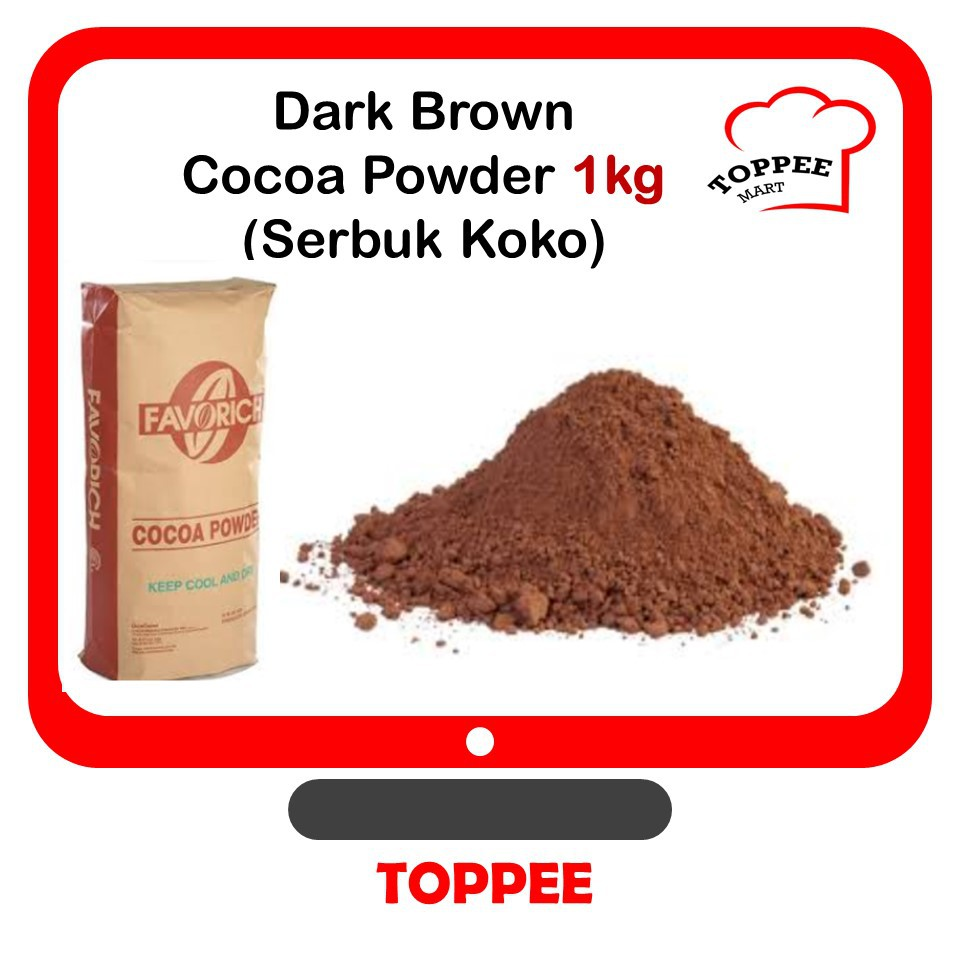 Dark Brown COCOA POWDER 1kg Serbuk Koko [100% PURE, NO SUGAR ADDED]