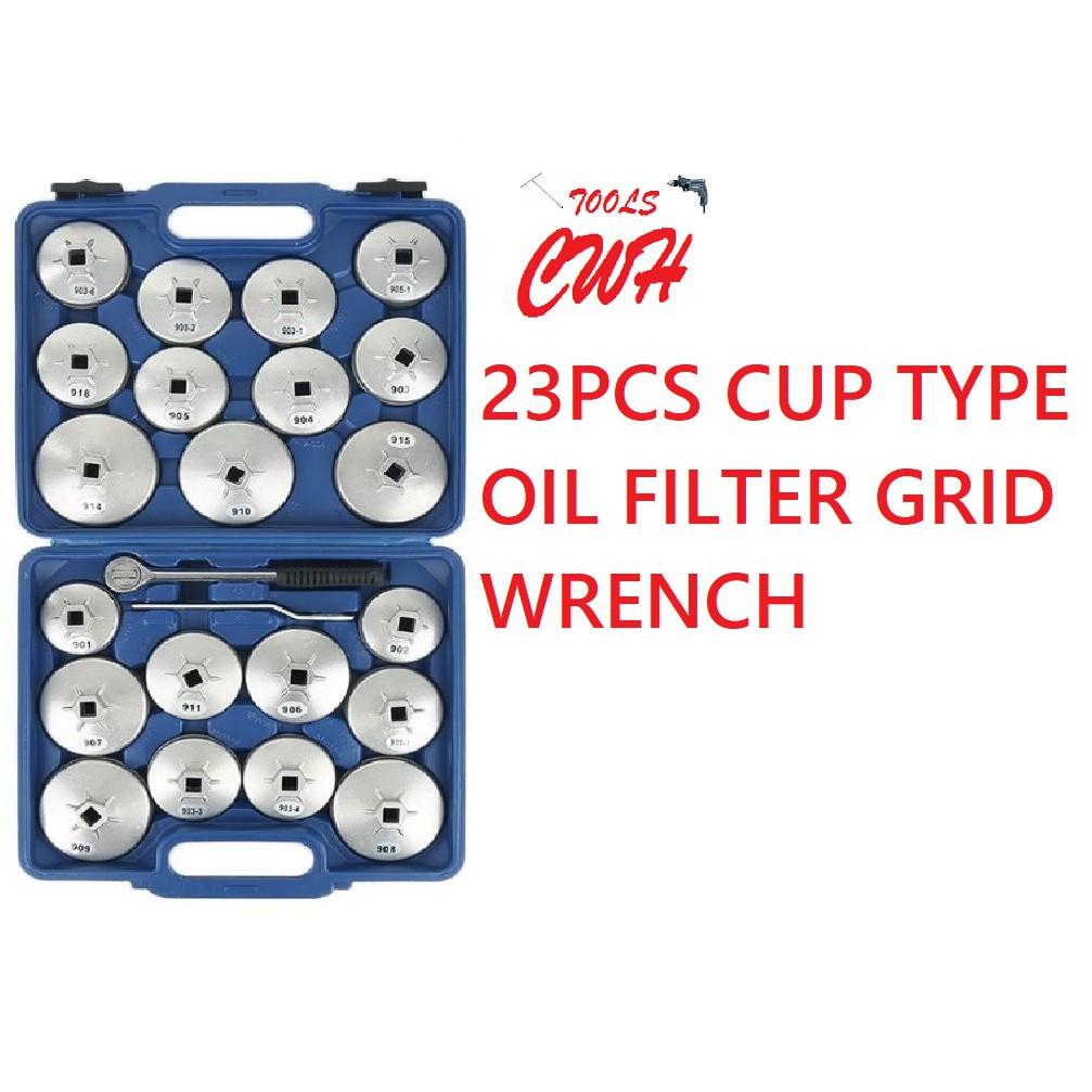 23pcs Cap Type Oil Filter Grid Wrench Set Aluminium Alloy Car Repair Garage Tool