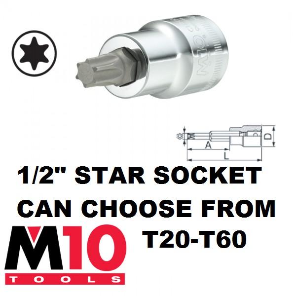 "T20-T60 RANGE M10 1/2"" STAR SOCKET"