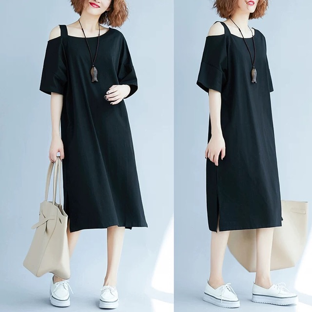 [XL~3XL]Plus Size Summer off shoulder dress fat mm cotton T-shirt 大码女装露肩连衣裙胖mm一字领中长款纯棉T恤
