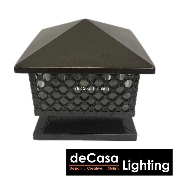 300mm WITH BULB SET 9W Outdoor Lighting Powder Coat Brown Outdoor Pillar Light Decasa Lighting Lampu Hiasan Pagar (G913)