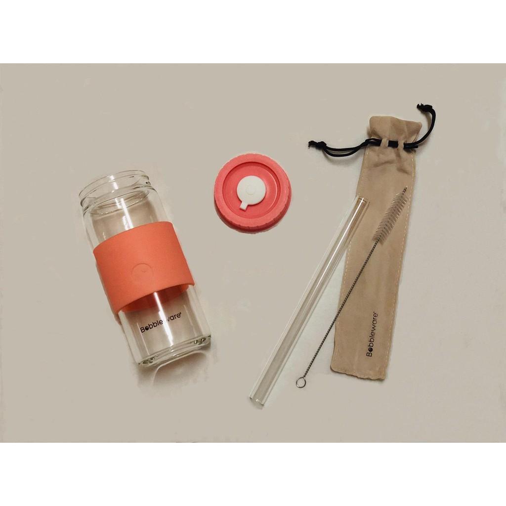 Bobbleware Reusable Borosilicate Glass Tumbler – Ivory, Peach & Lilac 500ml
