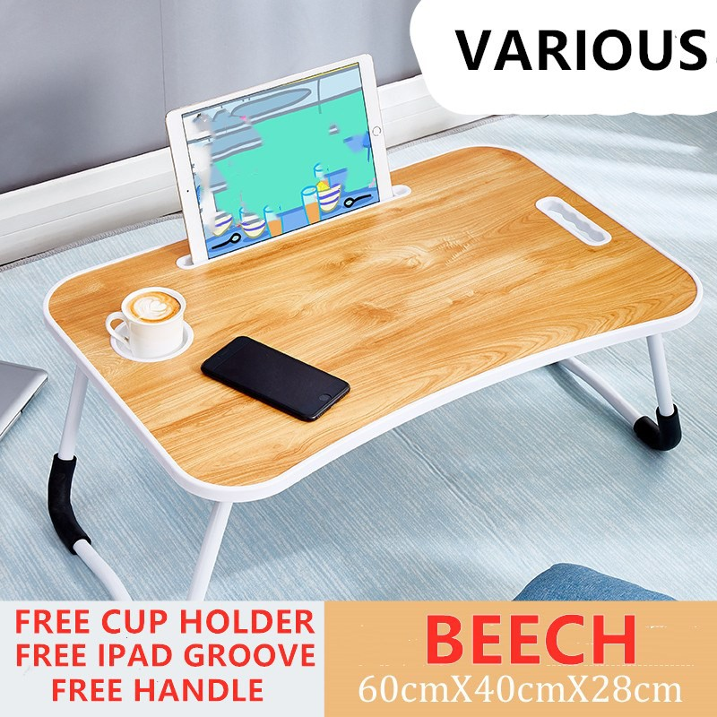 (Ready stock) Various Foldable Table Anti-slip Bed Laptop Table Notebook Table Portable Computer Desk with cup holder