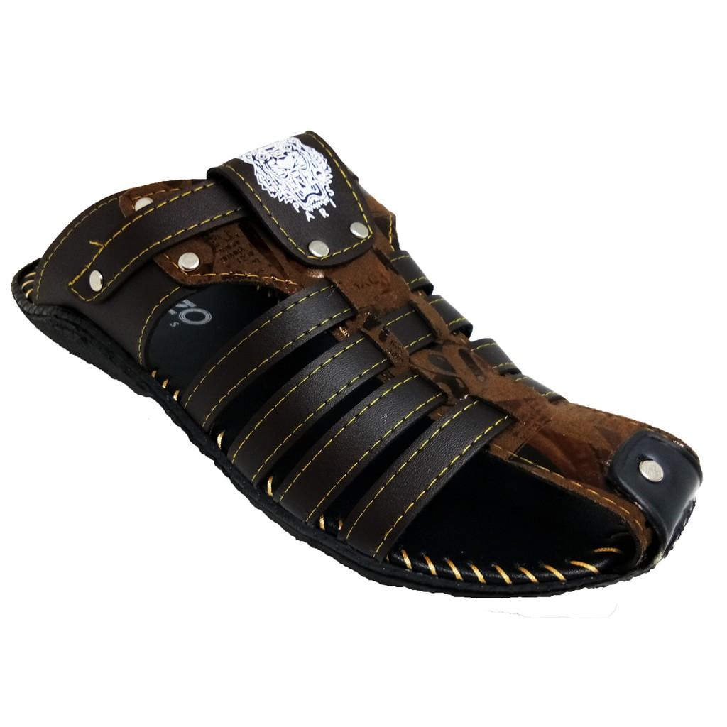 SHL Men PU Leather Sandal Fashion Half Selipar Kasut Lelaki size 6-10【男士拖鞋】-1287