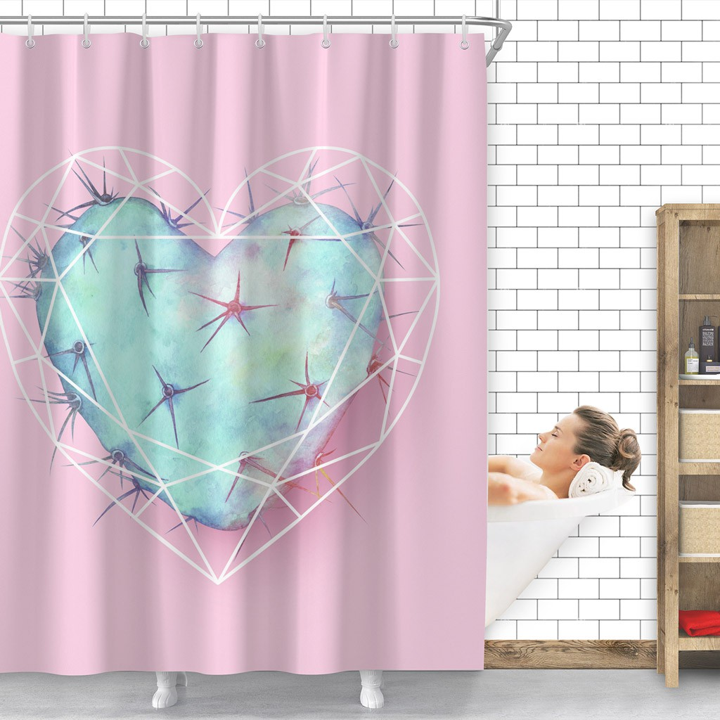 Blue Heart Shaped Cactus Shower Curtain Bathroom Waterproof Polyester 12 Hooks