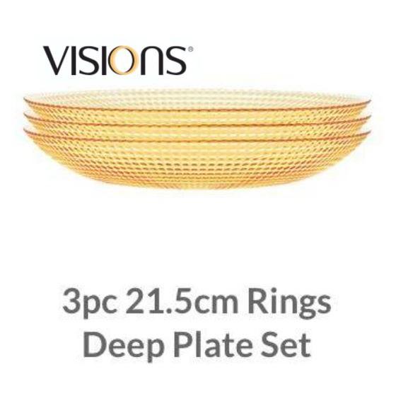 Visions 3 pc 21.5cm Rings Deep Plate Set VS-10497-3-SG