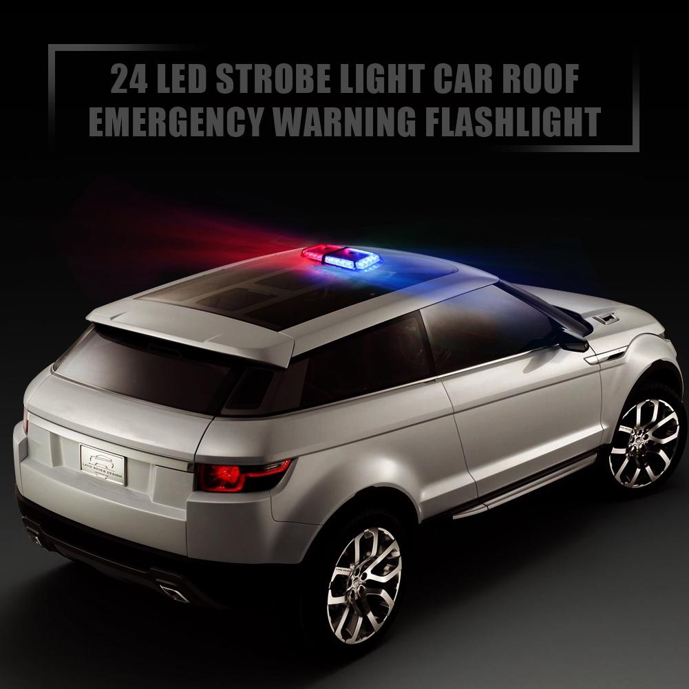 6.5 24W 9 Modes Traffic Advisor Emergency Beacon Warning Vehicle Strobe Flashing Lights Bar Kit for Interior Roof//Dash//Windshield//Grille//Deck Universal 12V DC 2 X 6 LED Emergency Strobe Light Bar