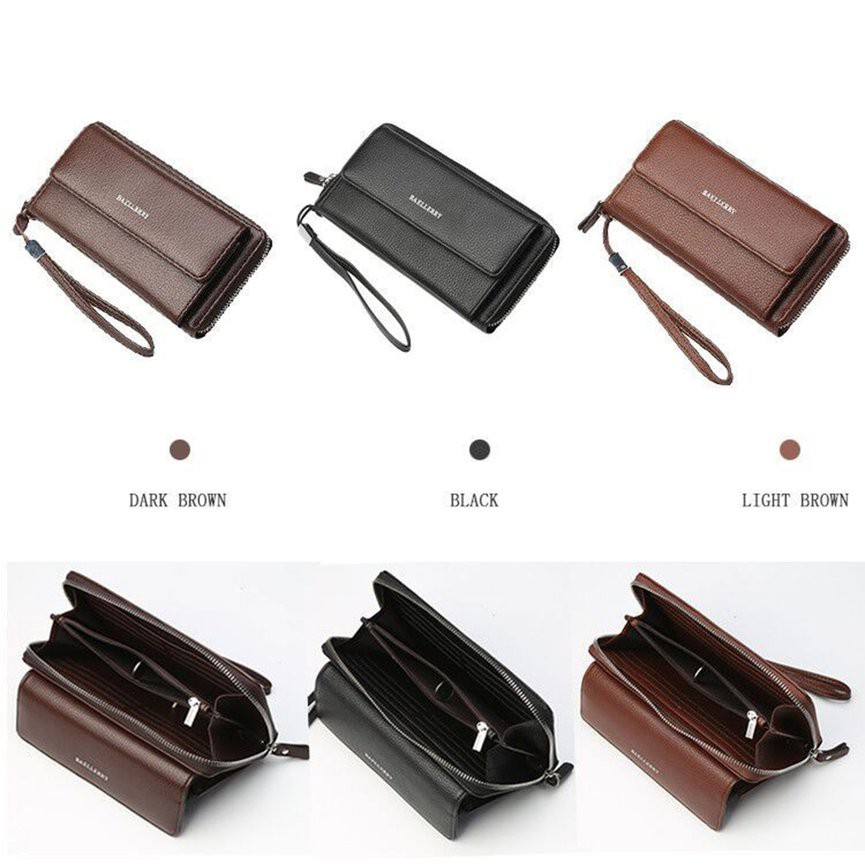 New Fashion Men's Vertical PU Leather Zipper Wallet License Card Holder | Shopee Malaysia