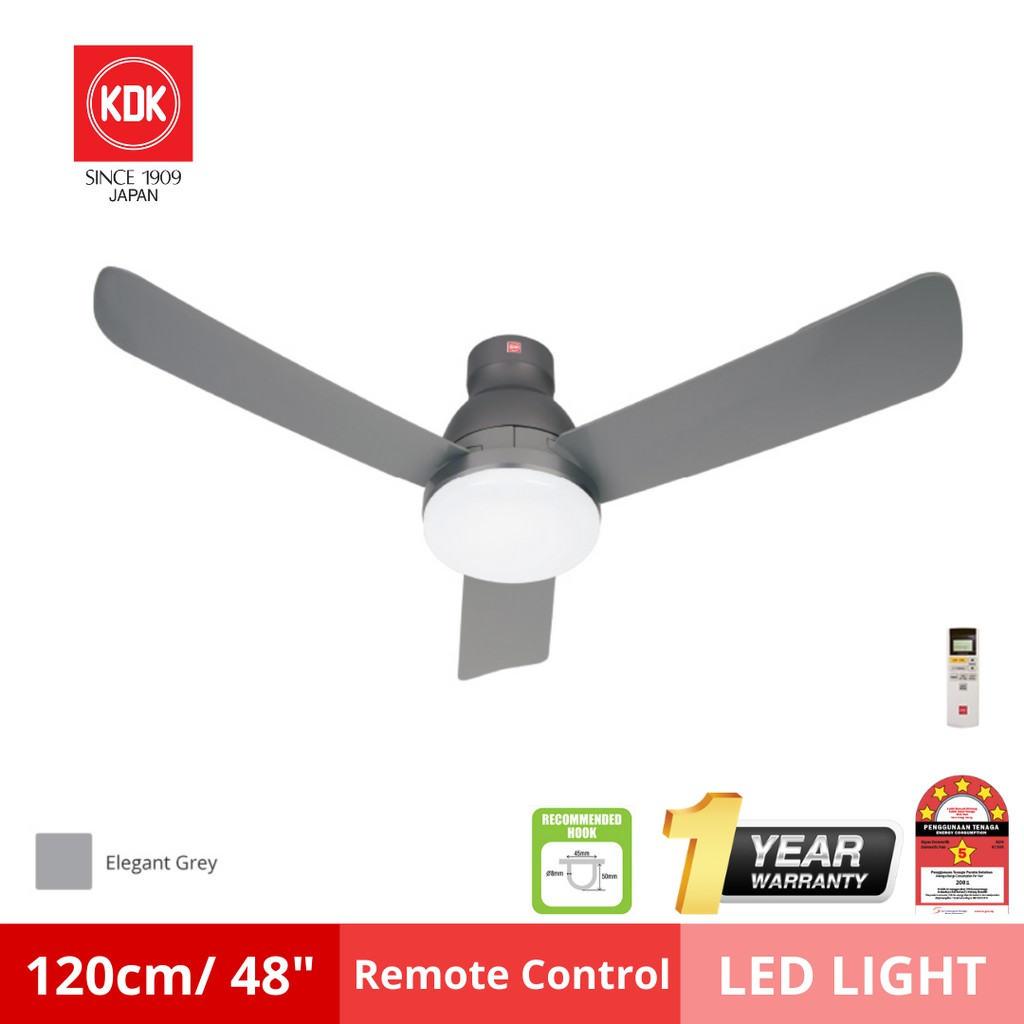 KDK Nikko Jr 120cm/ 48″ inch DC Motor LED Lighting 9 Speed Ceiling Remote Control Fan /kipas siling (K12UX)
