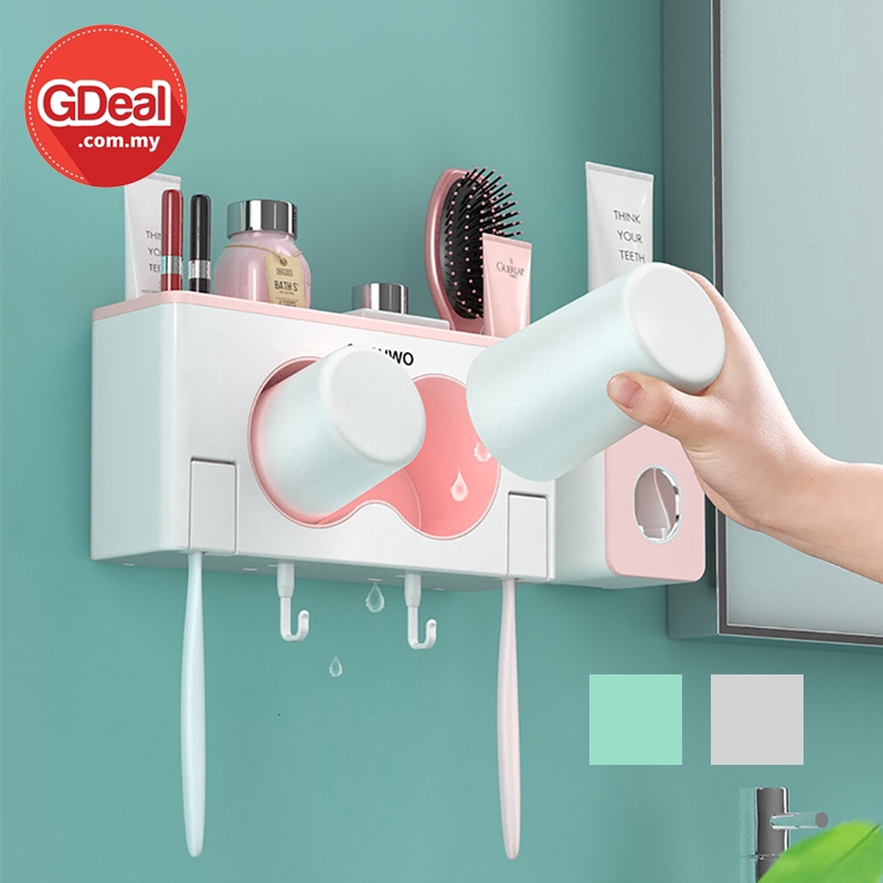 GDeal Multi Function Punch Free Wall Hanging Bathroom Storage Organizer With Toothpaste Dispenser