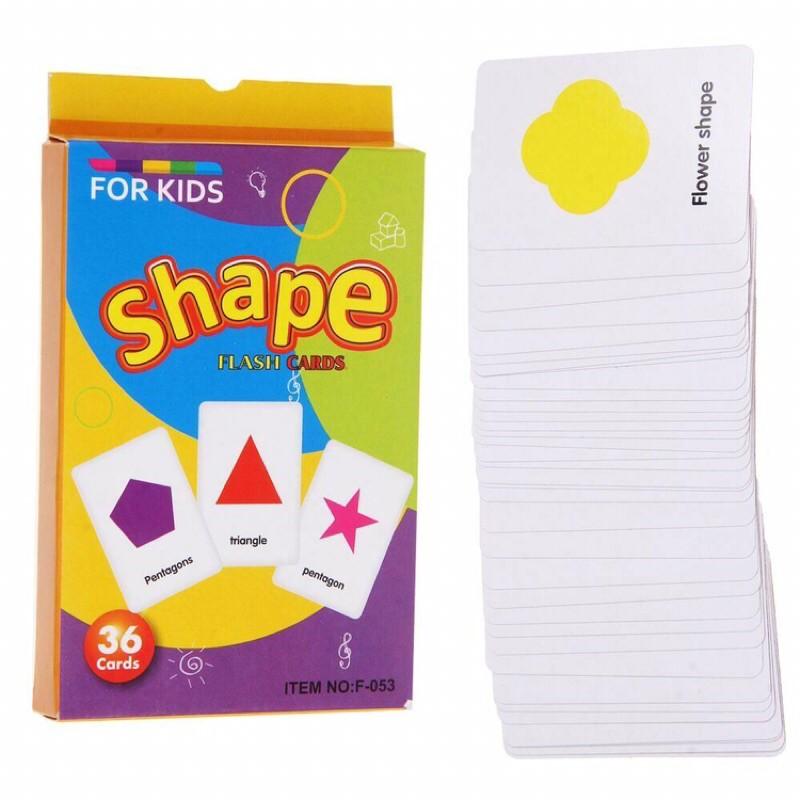 36pcs Kids Learning Education Shape Pocket English Flash Cards 形状卡