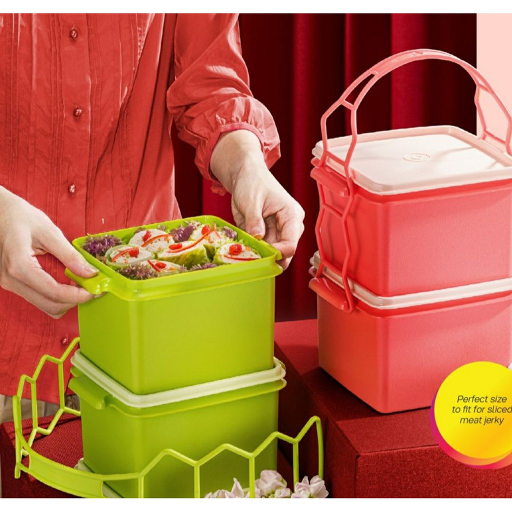 [TUPPERWARE MURAH] Double Deep with Cariolier 1.7L Green Orange *Ready Stock*