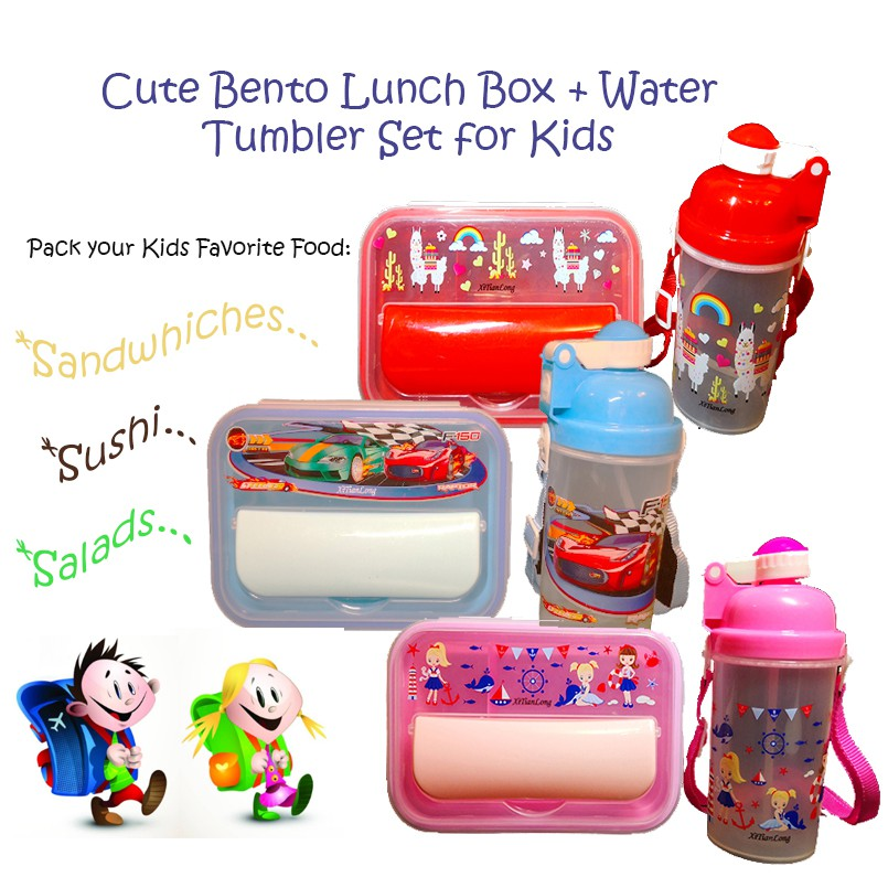 Ready Stock Cute Cartoon Bento Lunch Box Water