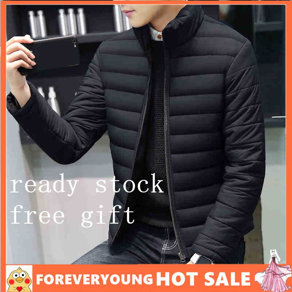 0153de27e 🎉Fashion Stand Collar Men's Jacket Cotton Coats Thick Winter Coat Outwear  Tops