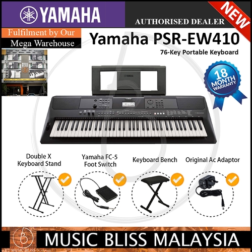 Yamaha PSR-EW410 76-key Portable Keyboard with Stand, Bench and Pedal