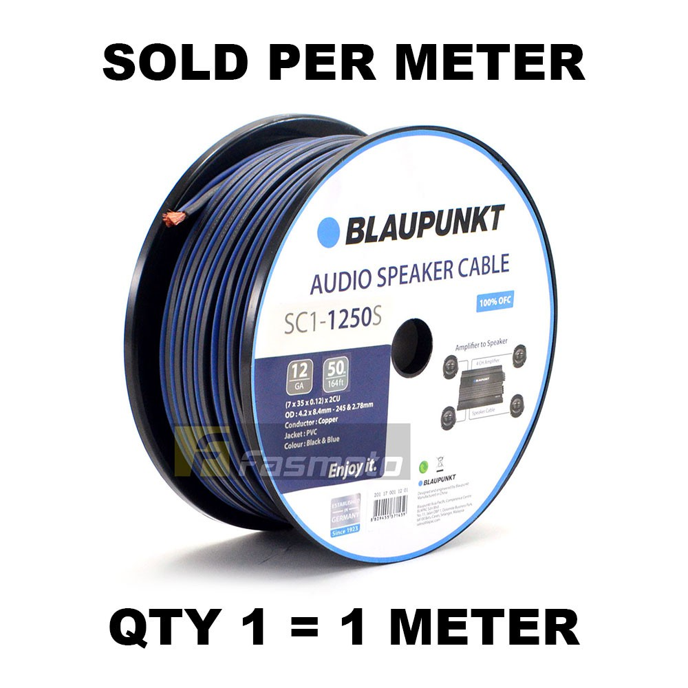 BLAUPUNKT SC1-1250S Audio Speaker Wires 12 Gauge Black and Blue (Sold per  Meter)