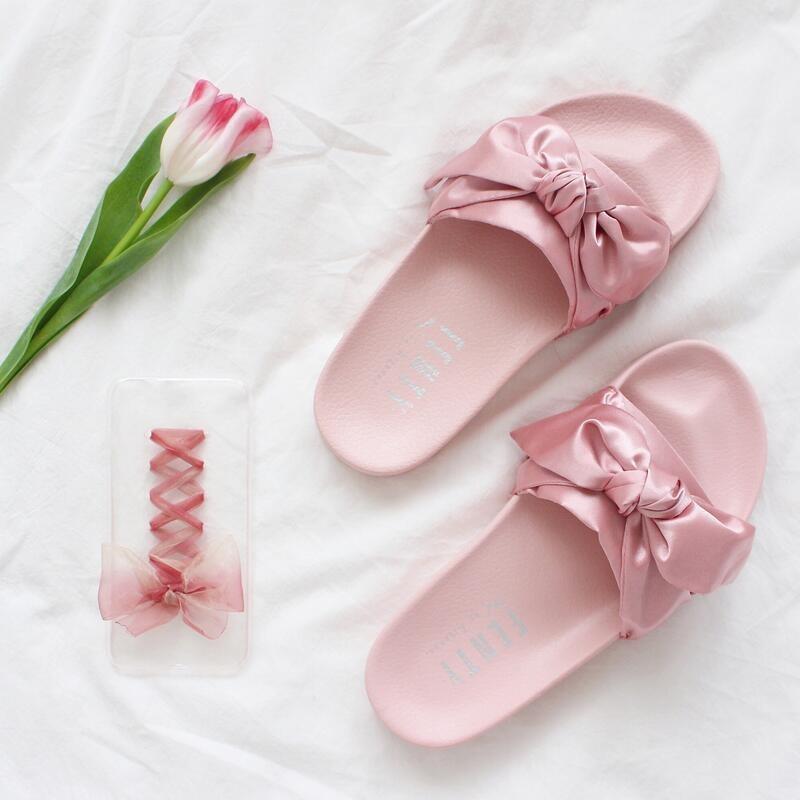 best website 139e5 0801e PUMA x FENTY Puma Rihanna ribbon ribbon bow sweet fashion slippers flat  home sli