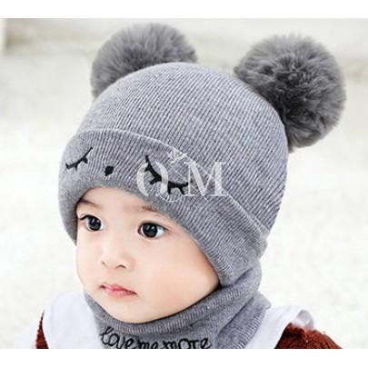 Cute Baby Kids Hats Girl Boy Dual Balls Warm Hats Winter Knitted Cap Hats Beanie
