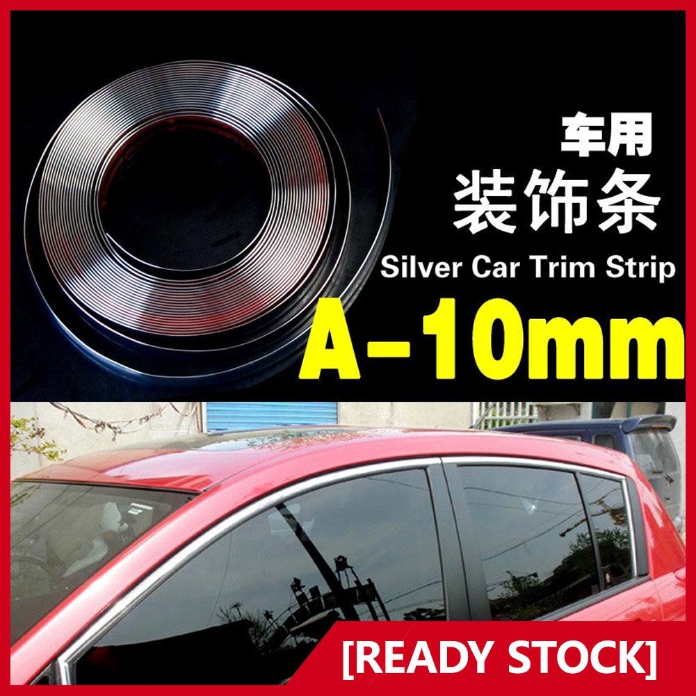10mm*3M Car Door Window  Bumper Decoration Moulding Trim Silver Chrome Strip