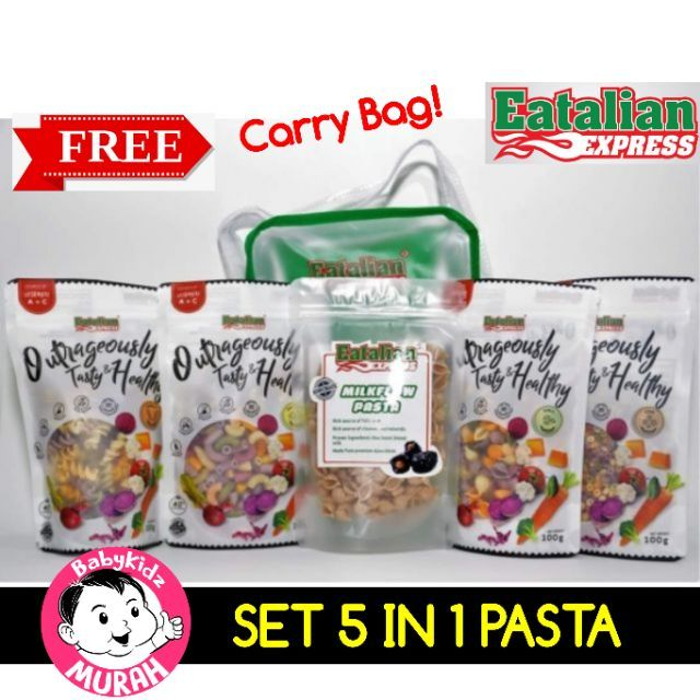 Set 5 in 1 FREE Bag PASTA EATALIAN EXPRESS Set On The Go ~ Vege & Milkflow