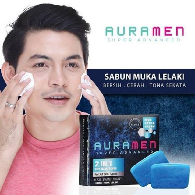 AURAMEN FACE SOAP 2IN1 DEEP CLEAN SCRUB BUY 1 FREE 1 100% ORIGINAL HQ+FREEGIFT
