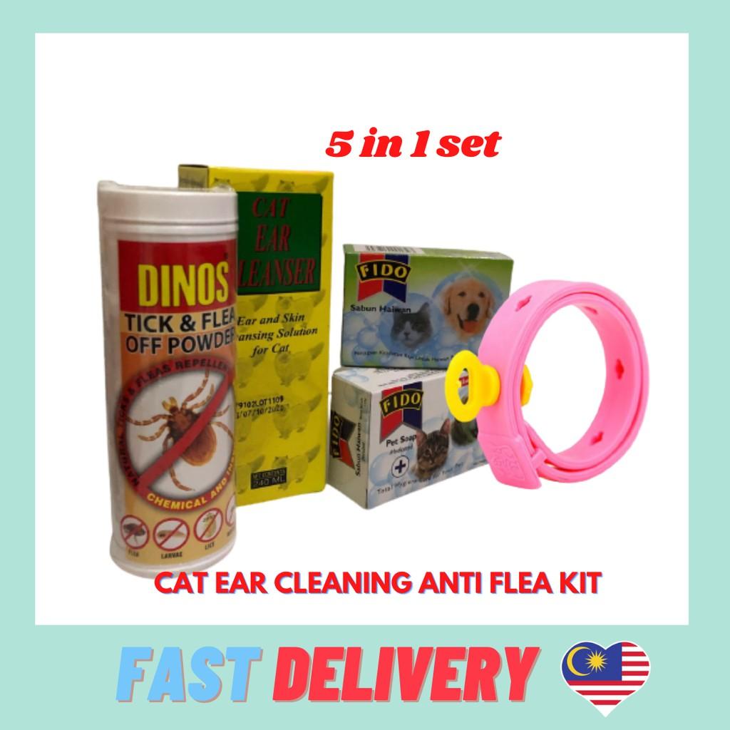 SuperSave Cat Kitten Ear Cleanser Anti Flea Ticks Set (5in1) Kucing Mandi
