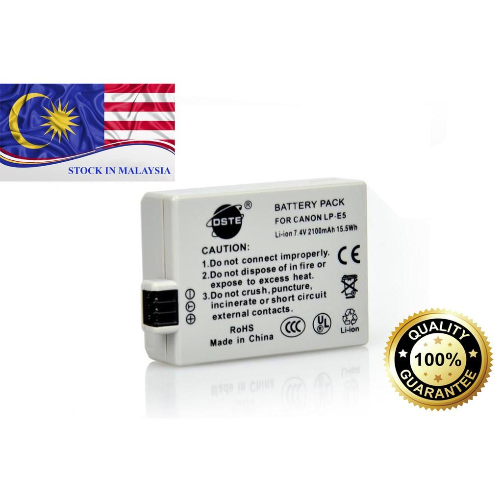 DSTE LP-E5 Battery for Canon EOS XS XSi T1i 1000D 500D 450D (Ready Stock In Malaysia)
