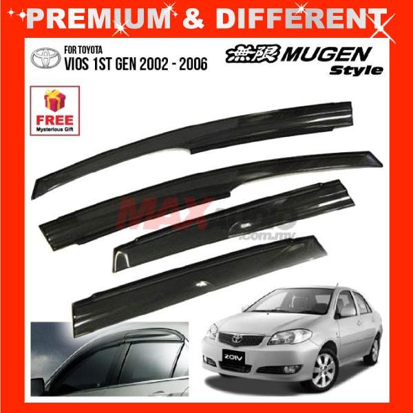 [FREE Gift] TOYOTA VIOS 2002 - 2006 MUGEN STYLE Smoke Black Rain Guard Acrylic Window Door Visor (4pcs/Set)