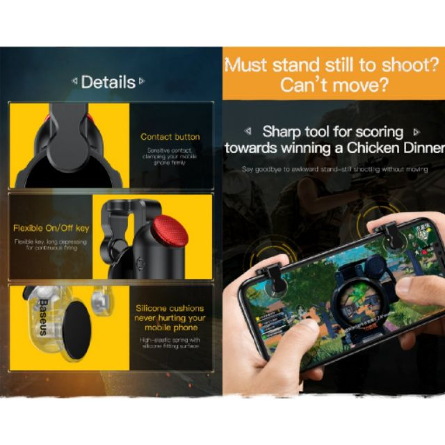 [READY STOCK] BASEUS 1 PAIR UNIVERSAL MOBILE GAMING TRIGGER FOR GAMING GAMING TRIGGER/CONTROLLER FOR MOBILE GAMING PUBG