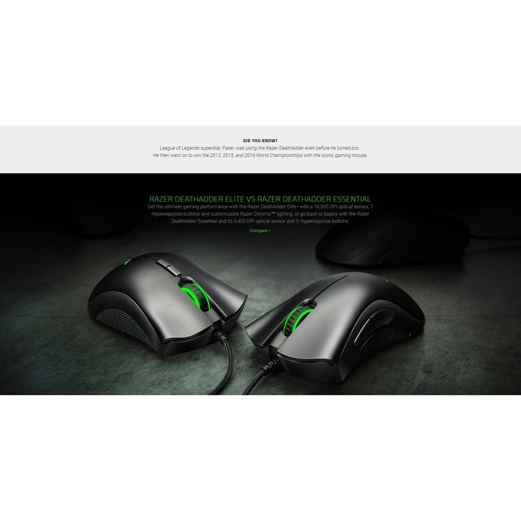 Razer DeathAdder Essential (5 buttons, 6,400dpi Optical) RZ01-02540100-R3M1