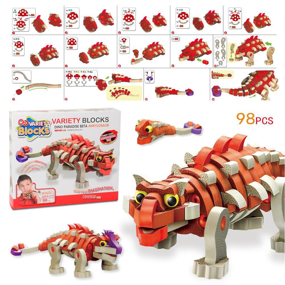 98pcs Kids Children Assembly Foam Building Blocks 3D