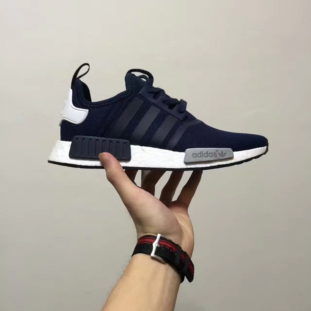 ?READY STOCK?Original design blue men women adidas NMD real boost running shoes