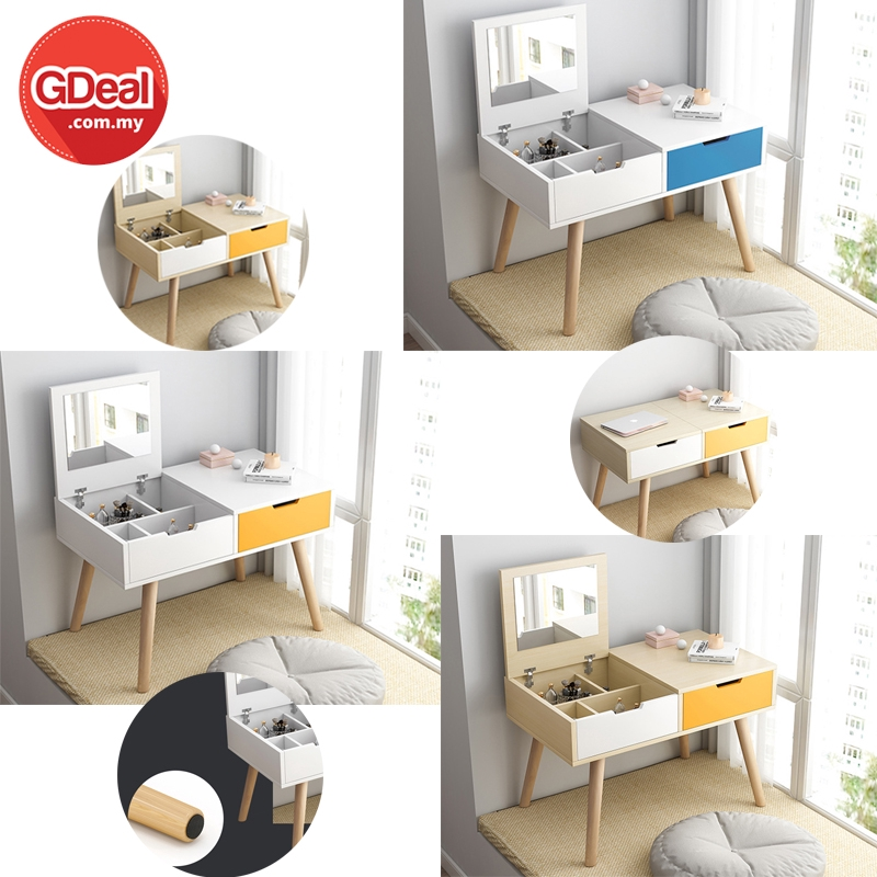 GDeal Simple Modern Wooden Dressing Table Writing Desk Bedroom Small  Apartment Mini Makeup Table With Non-Slip Foot Pad