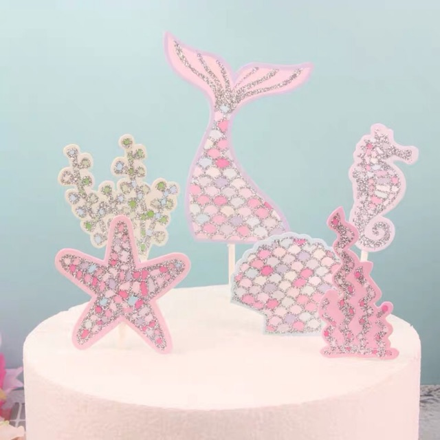 Excellent Ready Stock Mermaid Birthday Cake Topper Cake Decoration Ocean Funny Birthday Cards Online Fluifree Goldxyz