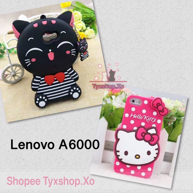 Lenovo A6000 Soft Back Casing Black Cat Hello Kitty Rubber Cover