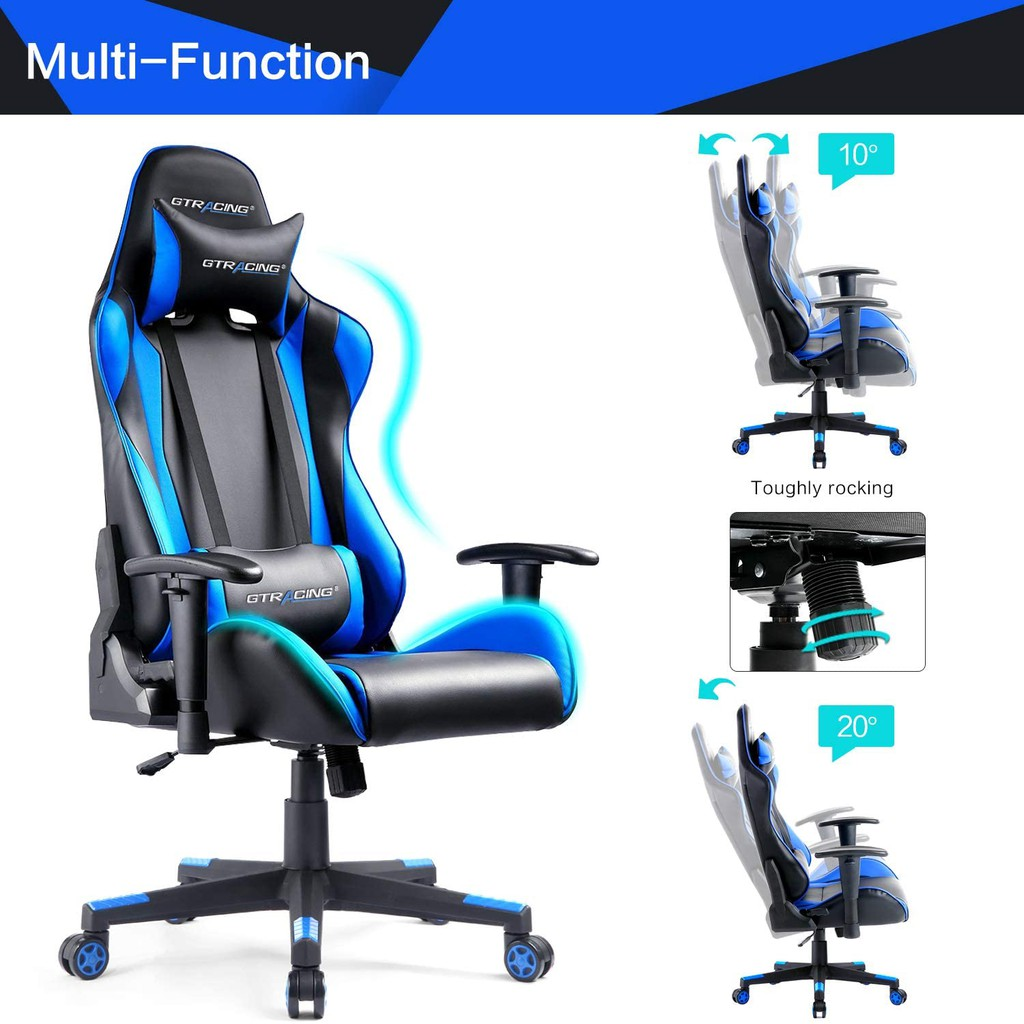 Picture of: Gtracing Gaming Chair Racing Office Computer Game Chair Ergonomic Backrest And Seat Height Adjustment Recliner Blue Shopee Malaysia