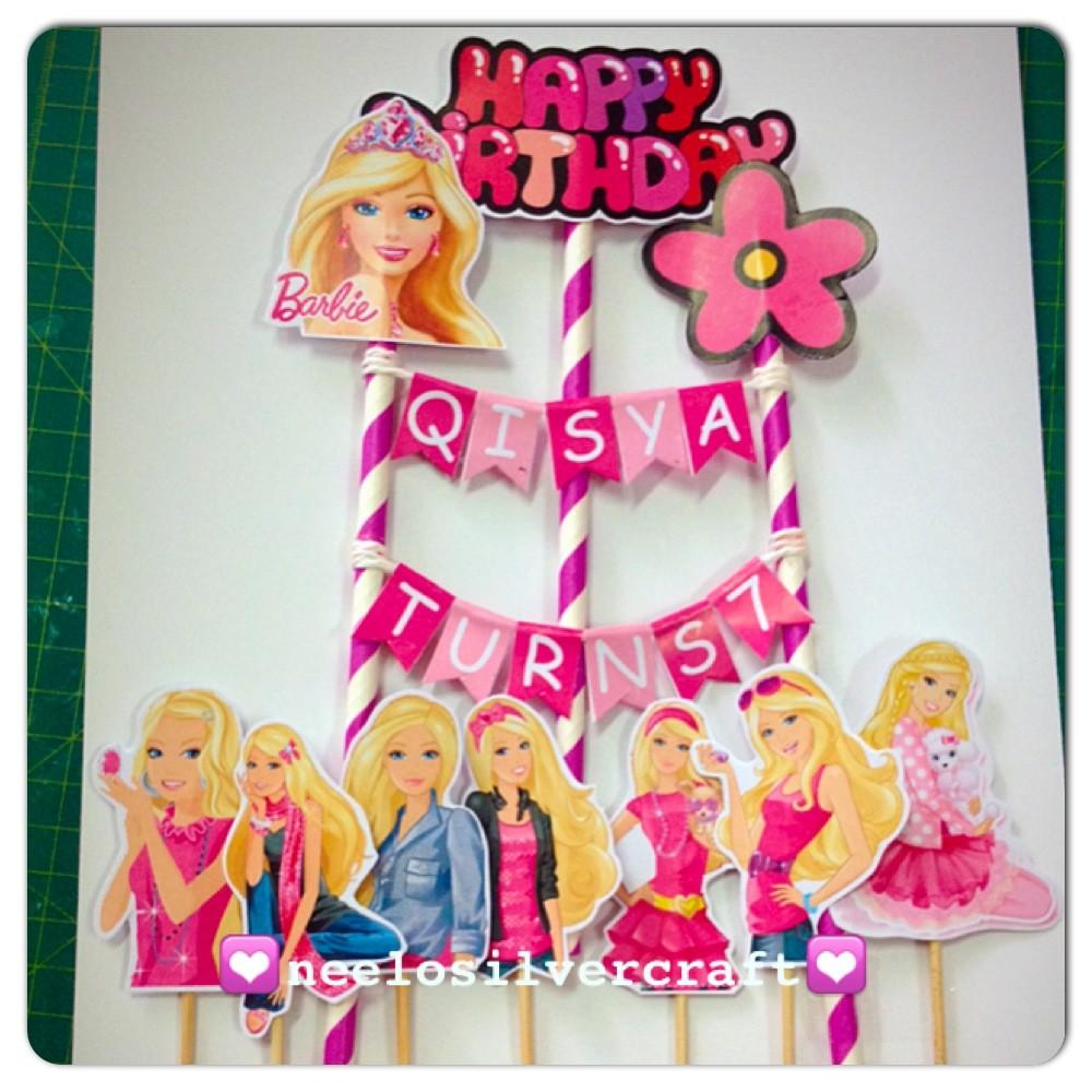 Awesome Barbie Theme Cake Topper For Birthday Cake Shopee Malaysia Personalised Birthday Cards Beptaeletsinfo