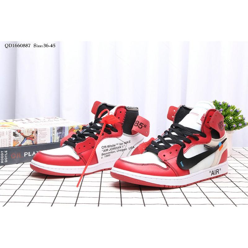 e0d57e85f142aa Nike Air Jordan 1OG Bred All White Sports Casual Basketball Shoes ...