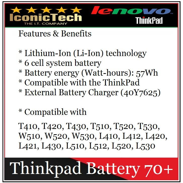 Genuine Batteries For Lenovo Thinkpad T430 T420 W530 W520 (Thinkpad Battery  70+)