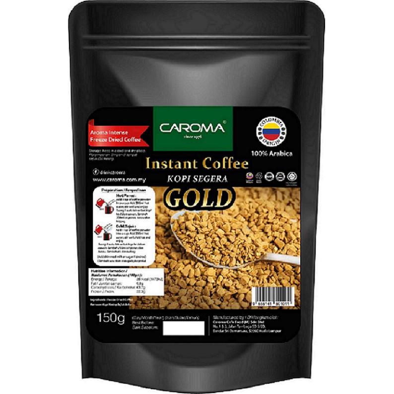 [CAROMA] GOLD Premium /Freeze Dried /Instant Soluble Coffee Powder/150g/Halal /Colombia  Bean Arabica/Coffee O/No Sugar